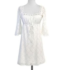 Laundry White Eyelet Lace Empire Dress Medium
